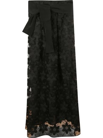 D.Exterior Floral Embroidered Skirt