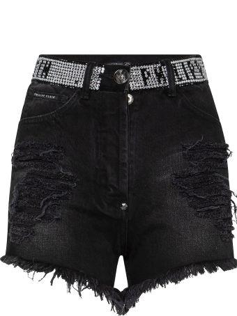 Philipp Plein Black Denim Shorts