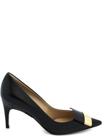 Sergio Rossi Black Leather Pointed-toe Decollete'.