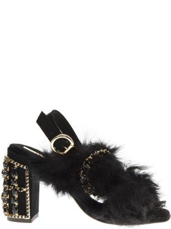 Emanuela Caruso Embellished Black Fur Sandals