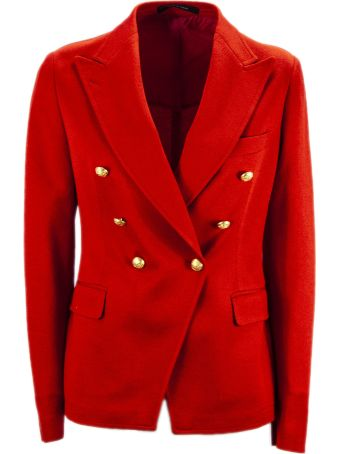 Tagliatore Red Cotton Jalicya Classic Double-breasted Blazer