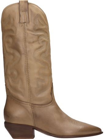 Elena Iachi Tex Beige Calf Leather Boots