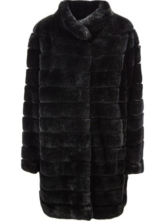 Yves Salomon Black Rabbit-fur Coat.