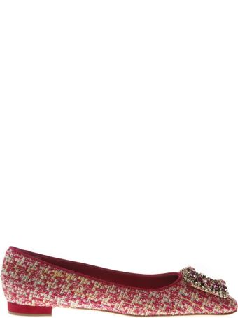 Manolo Blahnik Caza Pink Wool & Suede Slippers Shoes