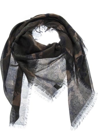 Valentino Camouflage Scarf With Vltn Logo All Over In Mixed Wool