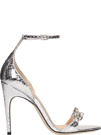 Sergio Rossi Silver Snake Print Leather Sandals