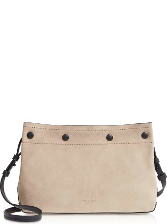 Rag & Bone Warm Grey Suede Compass Snap Crossbody Bag