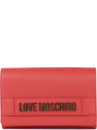 Love Moschino Red Faux Leather Logo Bag