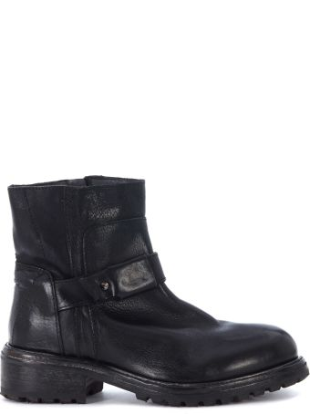 Moma Black Leather Ankle Boots With Pattern On The Leg