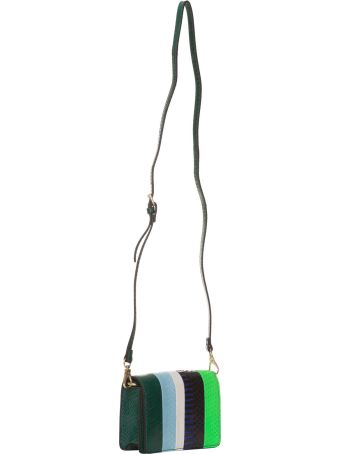 Essentiel Antwerp Multicolored Striped Snake Leather Belt Bag In Multicolor