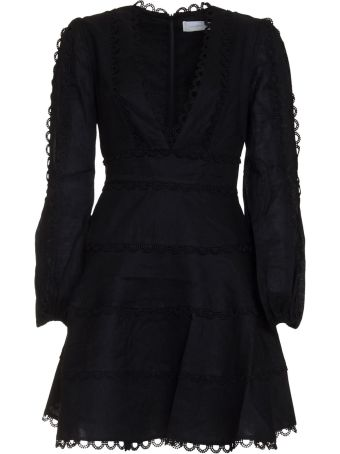 Zimmermann Heathers Flounce Plunge Front Dress In Black