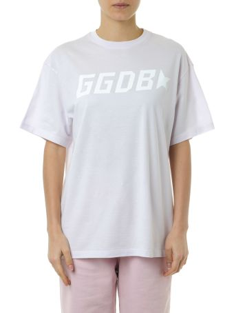 Golden Goose T Shirt In Lilac Cotton With Logo Print