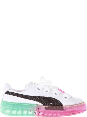 Puma White Leather Sneakers With Contrasting Sole