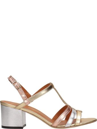 Via Roma 15 Gold And Silver Laminated Leather Sandals