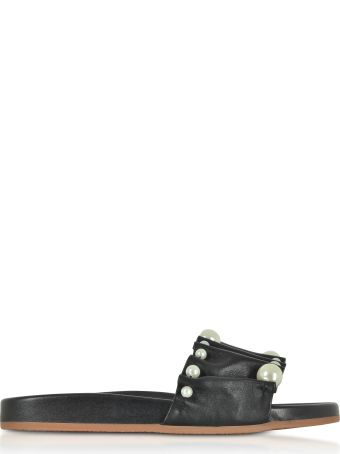 Charlotte Olympia Black Pleated Nappa Leather Slide Sandals W/pearls