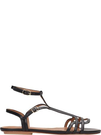 Chie Mihara Black Leather Yeal Sandals