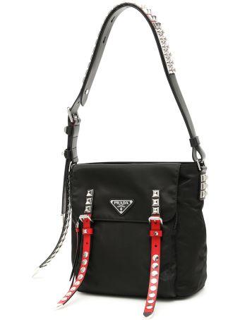 Prada Nylon Bucket Bag With Studs