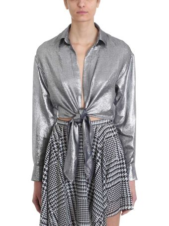 Alexandre Vauthier Deep V Bow Tie Cropped Shirt