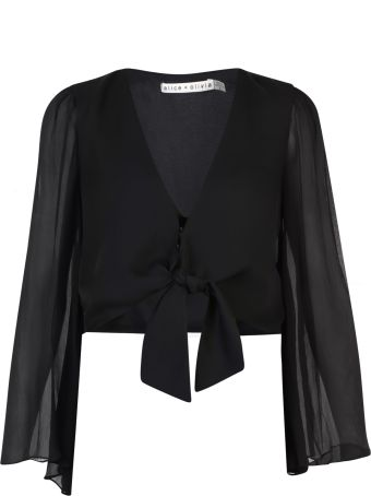 Alice + Olivia Cropped Silk Blouse