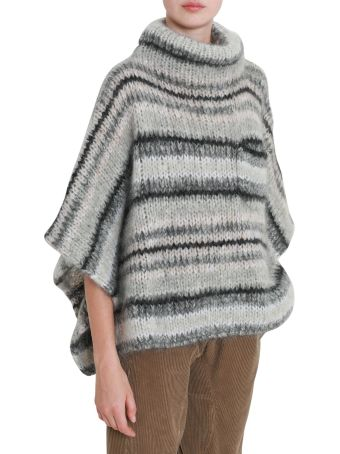 Brunello Cucinelli Knitted Wool Cape With High Neck