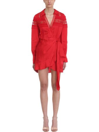 self-portrait Long-sleeve Red Lace Wrap Dress