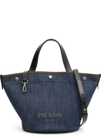 Prada Logo Denim Shopper