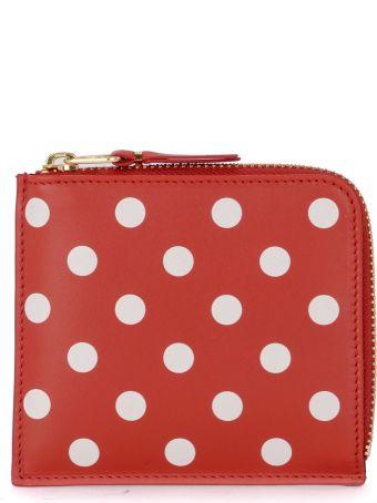 Comme des Garçons Wallet Red Polka Dot Leather Wallet