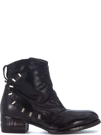 Moma Dark Brown Leather Ankle Boots With Metal Clips