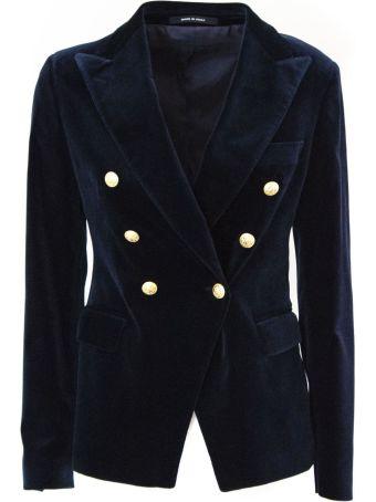 Tagliatore Midnight Blue Cotton Blend Velvet Blazer.