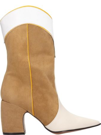 Marc Ellis Tex Beige Suede And White Leather