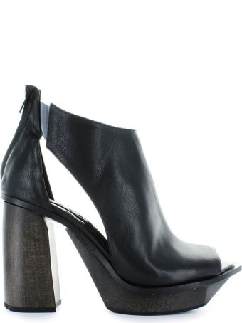 Malloni Black Leather Open Toe Bootie