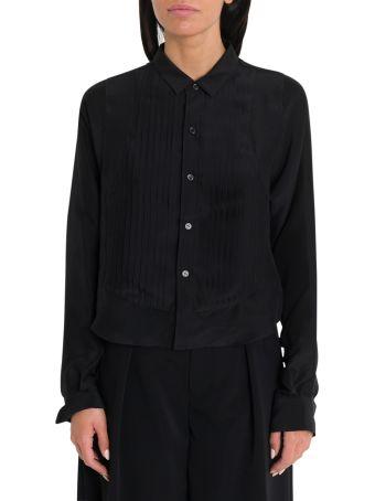 Noir Kei Ninomiya Silk Georgette Shirt With Plissé On Front