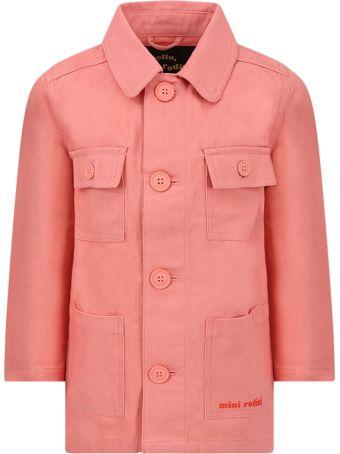 Mini Rodini Pink Girl Jacket With Brown And Black Crocodile