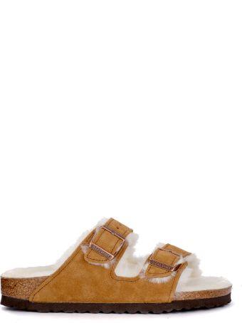 Birkenstock Arizona Brown Suede And Fur Sandal