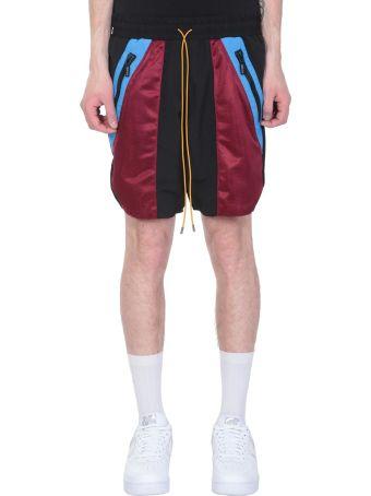 Rhude Bordeaux And Black Nylon Shorts