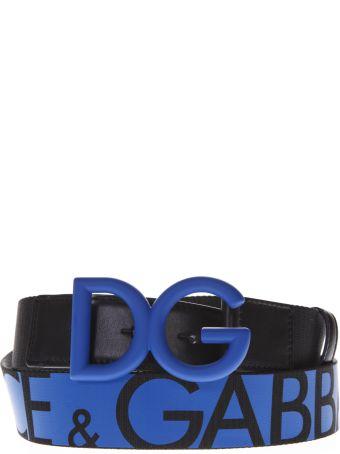 Dolce & Gabbana Black & Blue Nylon & Leather Iconic Buckle Belt
