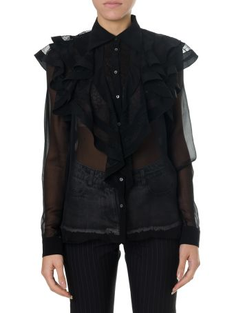 Faith Connexion Black Silk Shirt With Flounces