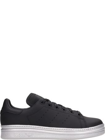 Adidas Black Leather Stan Smith New Bold Sneakers
