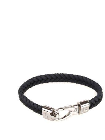 Tod's Dark Blue Woven Leather Bracelet Xemb1790100flru801