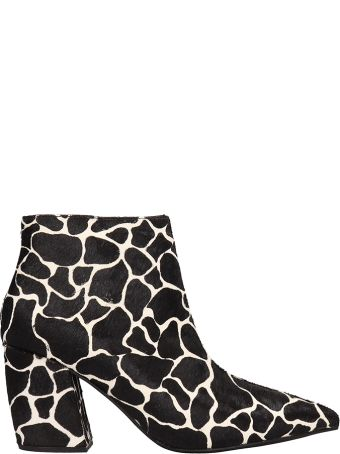 Jeffrey Campbell Ankle Boots In Black-multi Pony