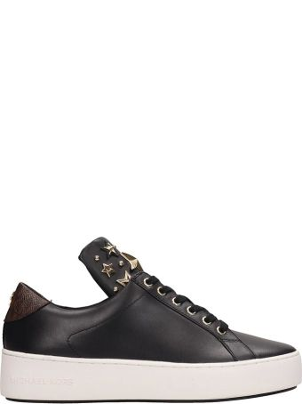 Michael Kors Black Leather Mindy Lace Up Sneakers