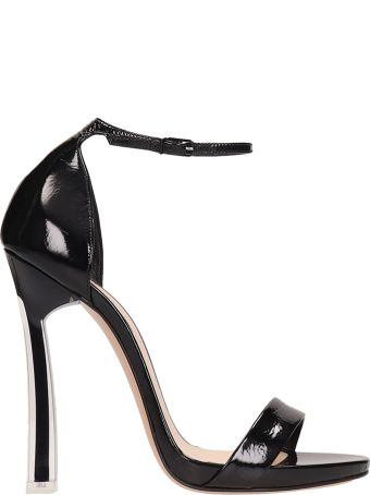 Casadei Black Patent Leather Sandals