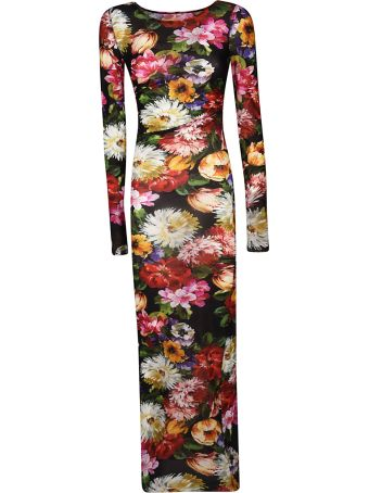 Dolce & Gabbana Long-sleeved Floral Ruched Bodycon Midi Dress