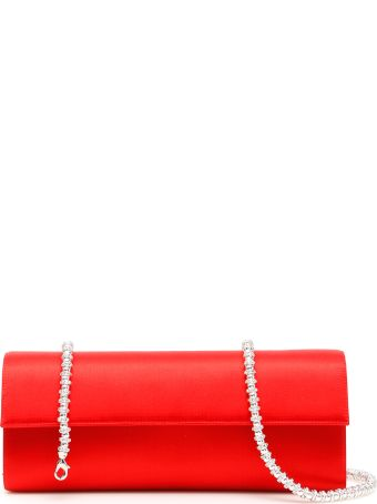 Rodo Medium Satin Clutch With Crystal Chain