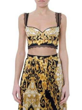 Versace Hibiscus Gold & Black Printed Bralette