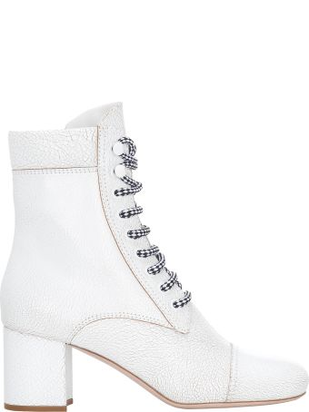 Miu Miu Leather Cracked Laced Boots