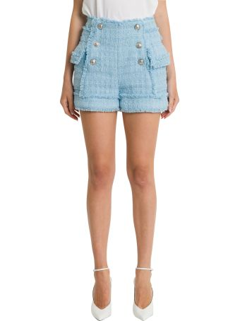 Balmain Tweed High-rise Shorts With Silver-tone Buttons