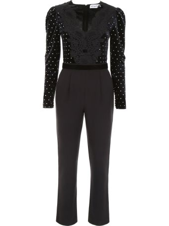 self-portrait Jumpsuit With Velvet And Crystals