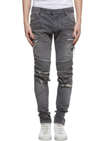 Balmain Biker Distressed Jeans
