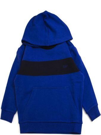 Fay Blue Cotton Contrast Stripe Hoodie